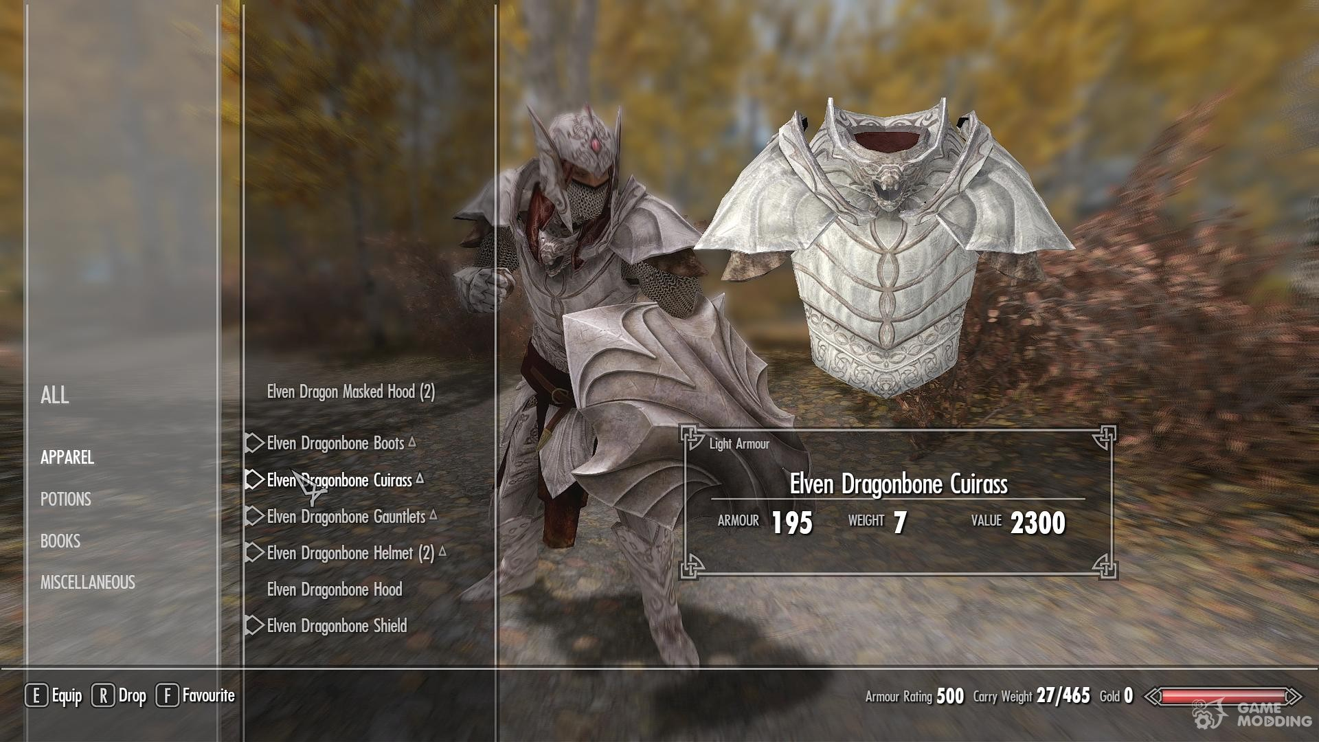 Elven Dragonbone Light Armor Set for TES V: Skyrim
