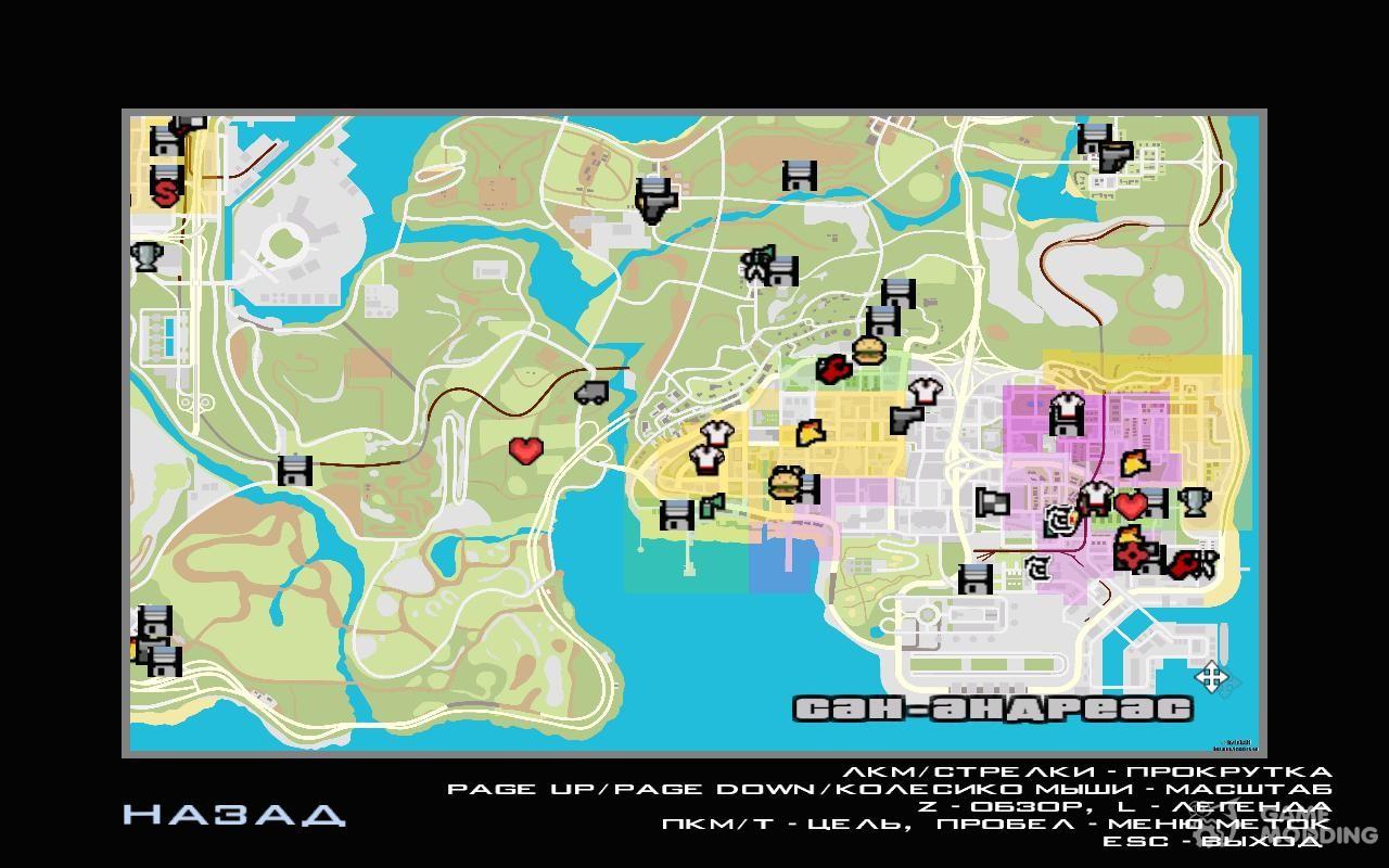 Atlas Map Of GTA For GTA San Andreas - San andreas on us map