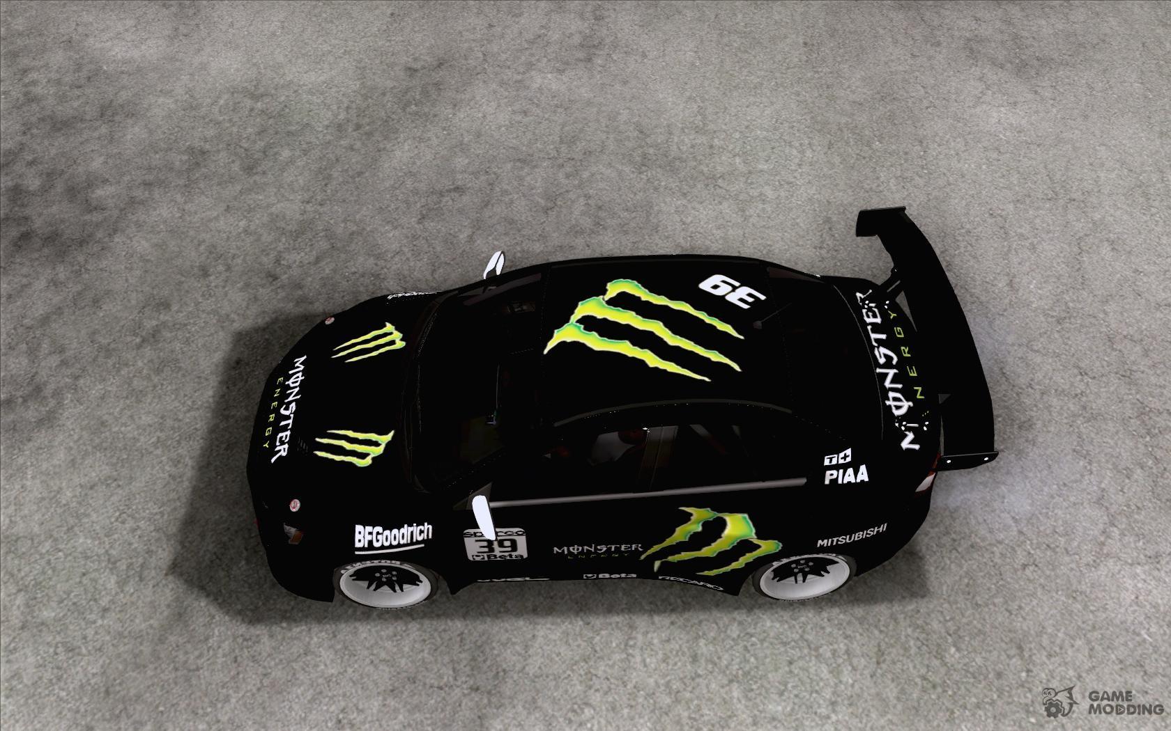 Elegant Mitsubishi Lancer Evolution X Monster Energy For GTA San Andreas Left View Nice Look