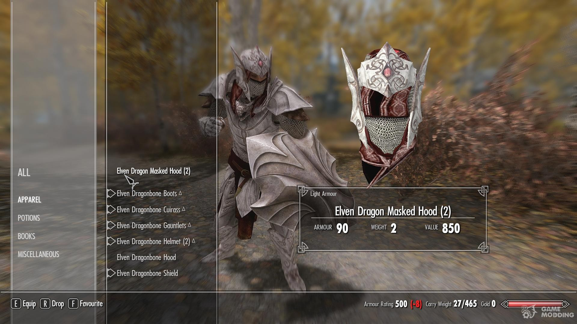Elven Dragonbone Light Armor Set for TES V Skyrim rear-left view & Elven Dragonbone Light Armor Set for TES V Skyrim