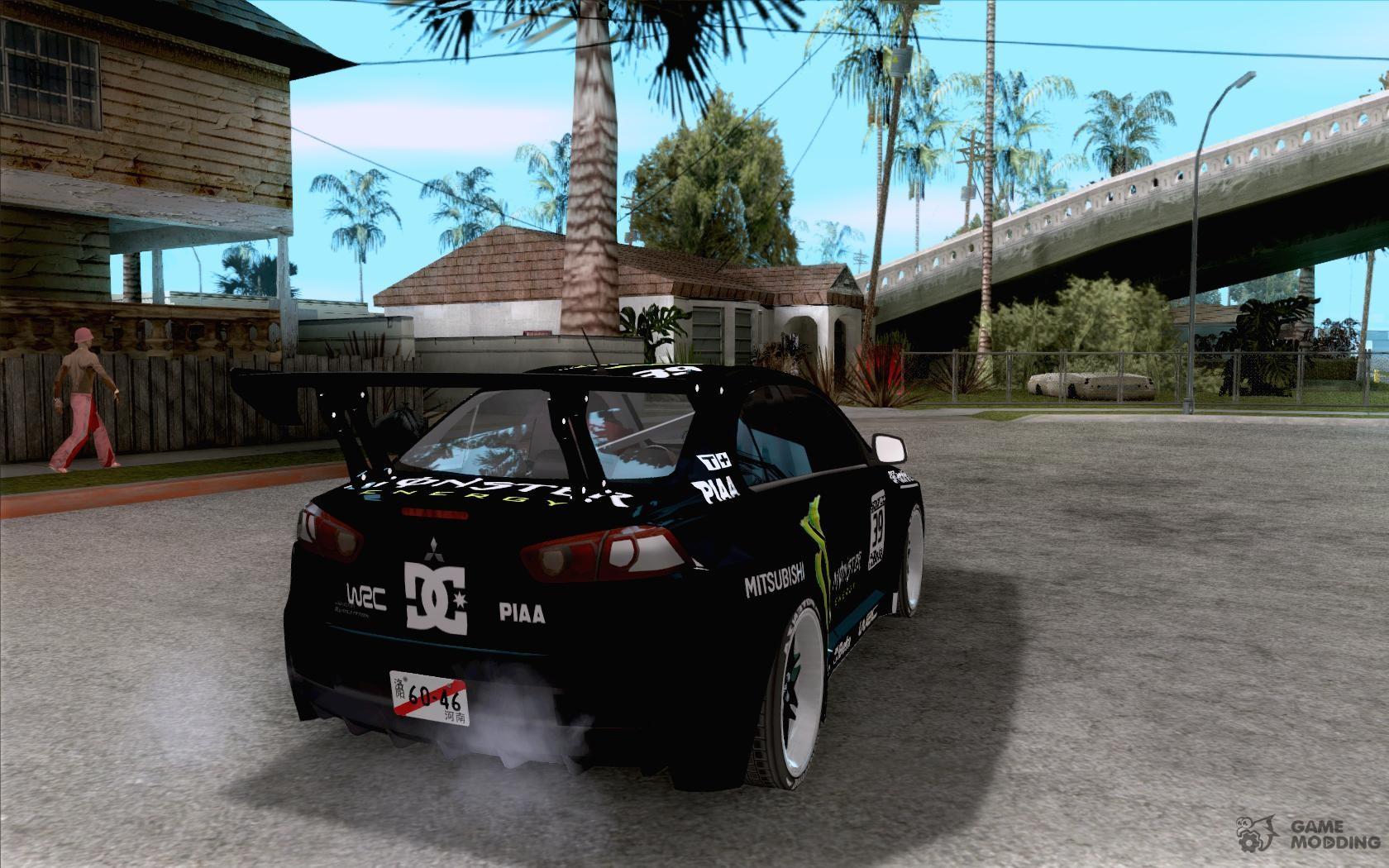 Mitsubishi Lancer Evolution X Monster Energy For GTA San Andreas Top View