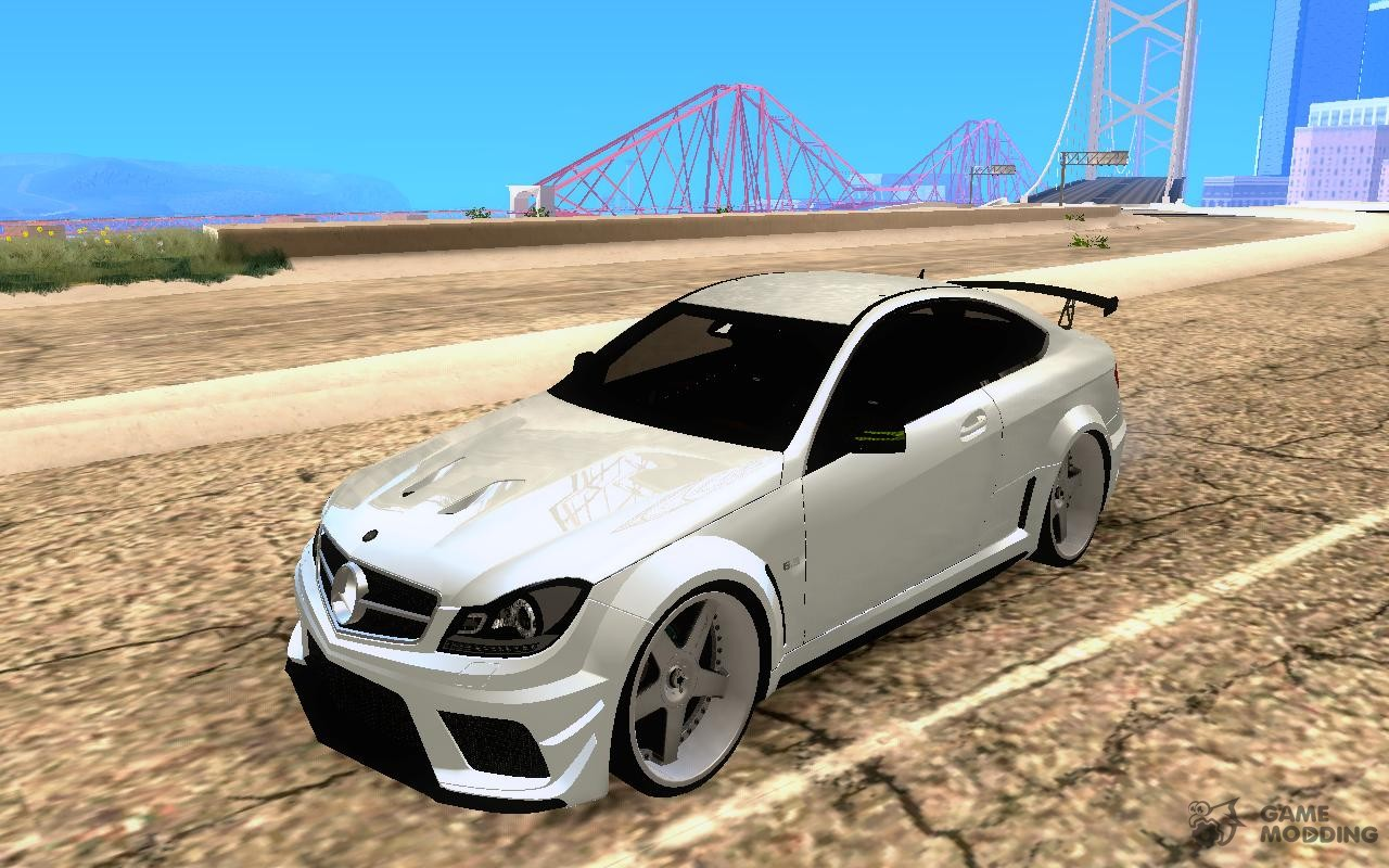 Mercedes benz c63 amg black edition imvehlm for gta san for Mercedes benz c63 amg black edition