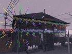Новогодние декорации Гроув-стрит для GTA San Andreas вид сзади слева