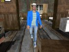 Skin HD GTA V Online парень в синем for GTA San Andreas rear-left view