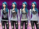 Skull and skeleton long sleeve shirts для Sims 4 вид сзади слева