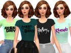 Band Tee Shirts Pack Three for Sims 4 rear-left view