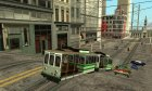 The tram is white with bright green stripes для GTA San Andreas вид изнутри