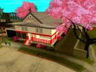 Japanese Castle CJ House and Beautiful Sakura Trees для GTA San Andreas вид слева
