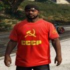 Футболка СССР для Франклина для GTA 5 вид сзади слева