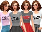 Band Tee Shirts Pack Three for Sims 4 left view