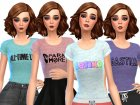 Band Tee Shirts Pack Three for Sims 4 top view