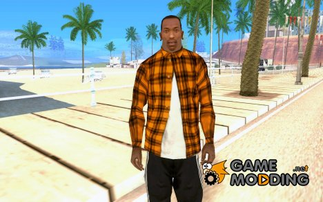 Оранжевая рубашка в клетку for GTA San Andreas