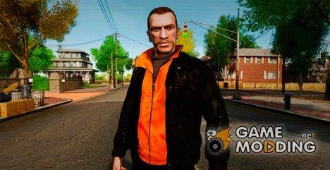 Чёрная куртка с оранжевой футболкой для GTA 4