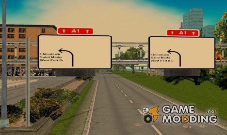 Латвийские дорожные знаки в Либерти для GTA 3