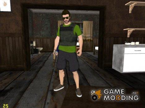 Скин из GTA V Online в зеленой футболке для GTA San Andreas