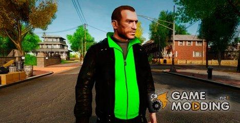 Чёрная куртка и зелёная футболка для GTA 4