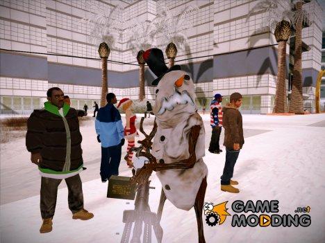 Зимние скины, одежда и оружие (By Babay) для GTA San Andreas