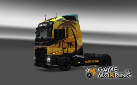 Скин Miami Beach для Volvo FH Sleeper для Euro Truck Simulator 2