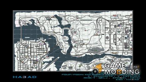 Белая карта с иконками и квадратами для SAMP RP for GTA San Andreas