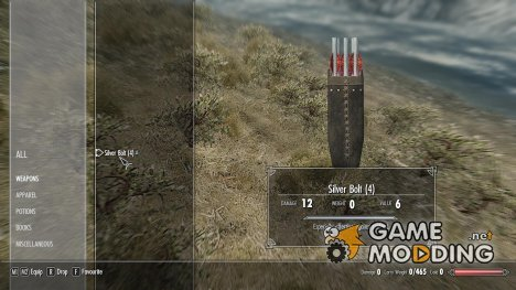 Silver Crossbow Bolts for TES V Skyrim