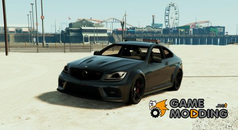 Black Mercedes-Benz C63 AMG Police for GTA 5