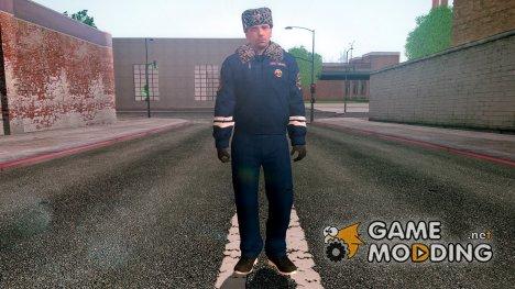 Сотрудник ДПС в зимней форме для GTA San Andreas