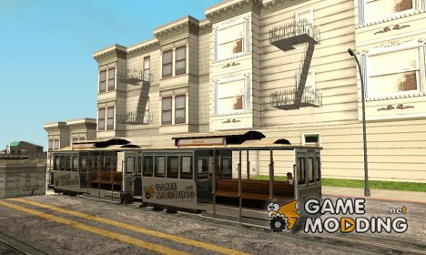 Tram with the logo of the website gamemodding.net для GTA San Andreas