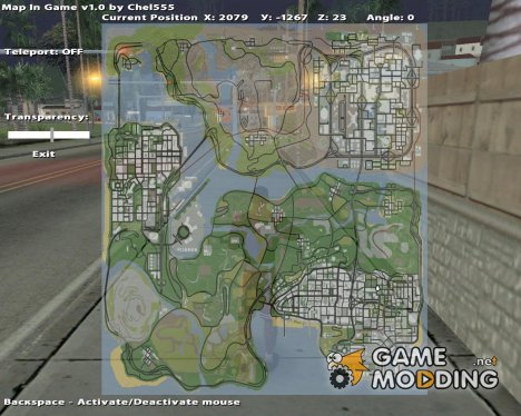 Map in Game v1 for GTA San Andreas