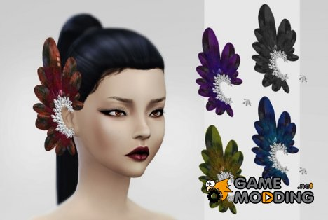 Украшение LeahLillith Emblished Feathers Earrings for Sims 4