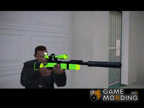 Sniper Rifle chrome green v2 для GTA San Andreas