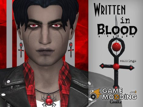 Written in Blood - Earrings Set для Sims 4