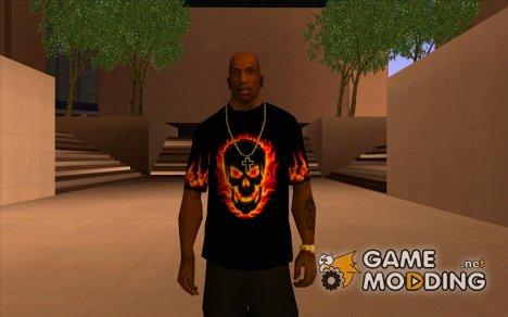 Черная футболка с огненным черепом for GTA San Andreas