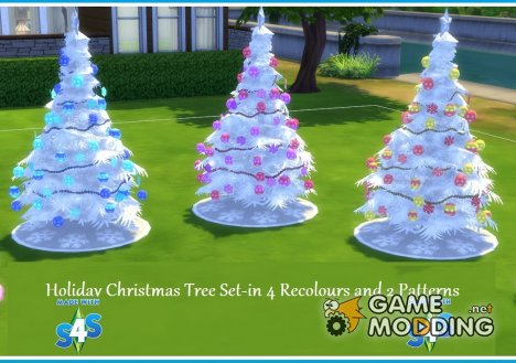 4 Recoloured Holiday Christmas Tree Set для Sims 4