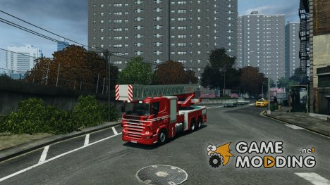 Scania Fire Ladder v1.1 Emerglights blue-red для GTA 4