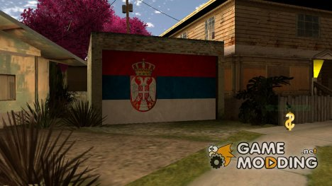 Serbian flag on garage door для GTA San Andreas