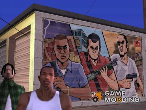 "Graffiti Art ""GTA 5 Franklin, Michael, and Trevor"" для GTA San Andreas"