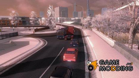 Зимний мод v3 для Euro Truck Simulator 2