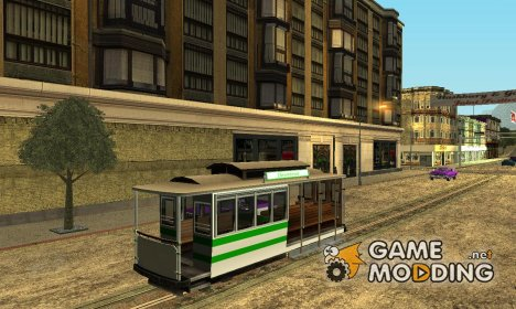 The tram is white with bright green stripes для GTA San Andreas