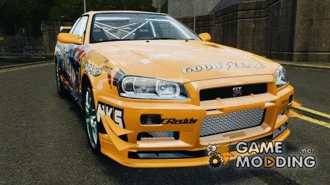 Nissan Skyline R34 GT-R Tezuka Goodyear D1 Drift for GTA 4