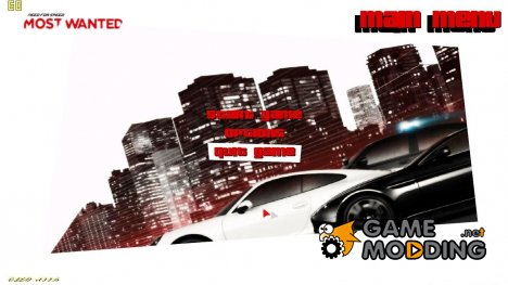 Меню в стиле NFS Most Wanted 2012 for GTA Vice City