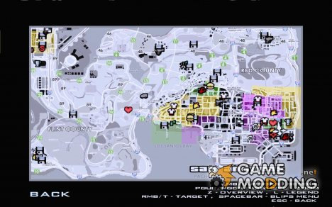 Карта с названиями улиц для GTA San Andreas