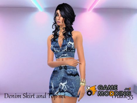 Blue Denim mini skirt and top set for Sims 4