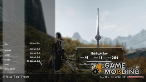 Nightingale Blade More Enchantment uses для TES V Skyrim