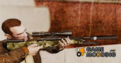 Снайперская винтовка AW L115A1 с глушителем v7 для GTA 4