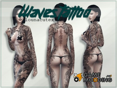 Waves Tattoo - Lounacutex для Sims 4