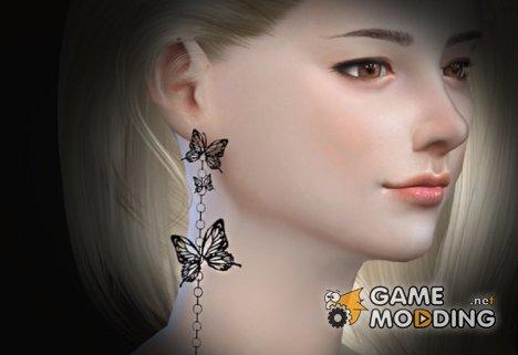 Серьги с бабочками для Sims 4