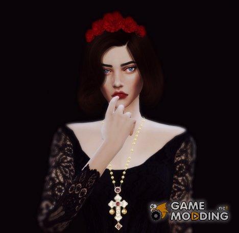 Цепочка с золотым крестом for Sims 4