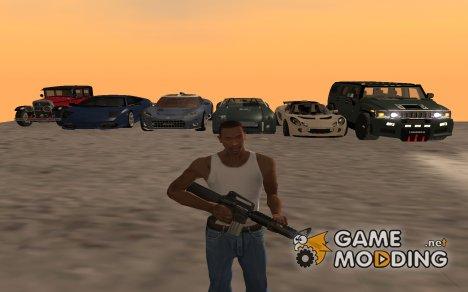 Пак заменяющий весь транспорт, скины и оружия для GTA San Andreas