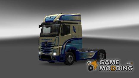 "Скин ""CAFRREY International"" для Mercedes Actros MP4 for Euro Truck Simulator 2"