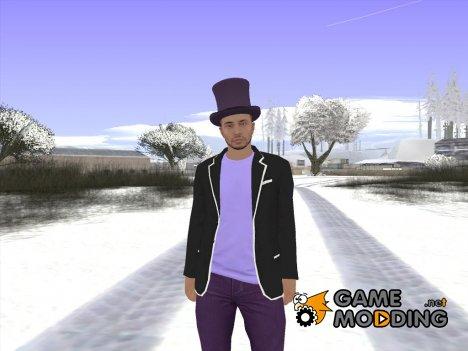 Skin GTA Online в фиолетовом цилиндре for GTA San Andreas